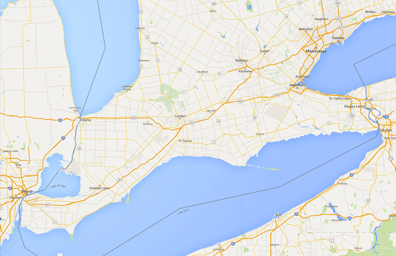 Google-Map-Sunrise-Blinds-Southwestern-ontario